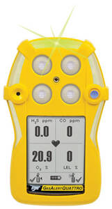 BW Technologies GasAlertQuattro 3-Gas Detector %LEL, O2, H2S - Alkaline Version - Yellow Housing