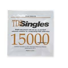 "Oakton 15,000 µS Conductivity/TDS ""Singles"" Calibration Solution Pouches, 20 pouches per box each with 20 mL solution - WD-35653-13"