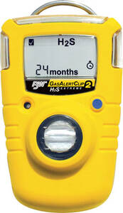 BW Technologies GasAlertClip Extreme 2 Year Single Gas Detector Hydrogen Sulfide (H2S) Low Alarm Version- 5 ppm / High - 10 ppm