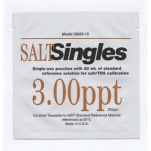 "Oakton 3000ppm Salt ""Singles"" NaCl Calibration Solution Pouches, 20 pouches each with 20 mL of solution - WD-35653-15"